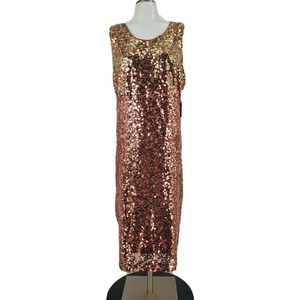 New York & Co Rose Gold Sequin Dress Cocktail